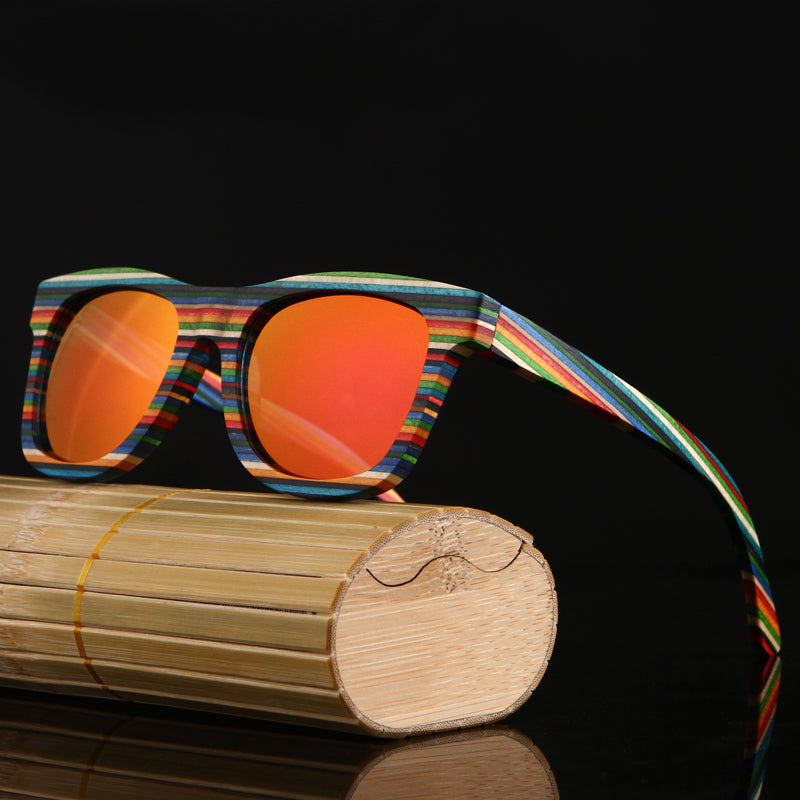RAINBOW - Multicolor Bamboo Polarized Unisex Sunglasses in Bamboo Gift Box