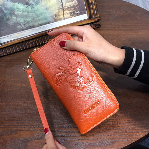 ROMA (Bird Embossed) - Genuine Leather Ladies Purse