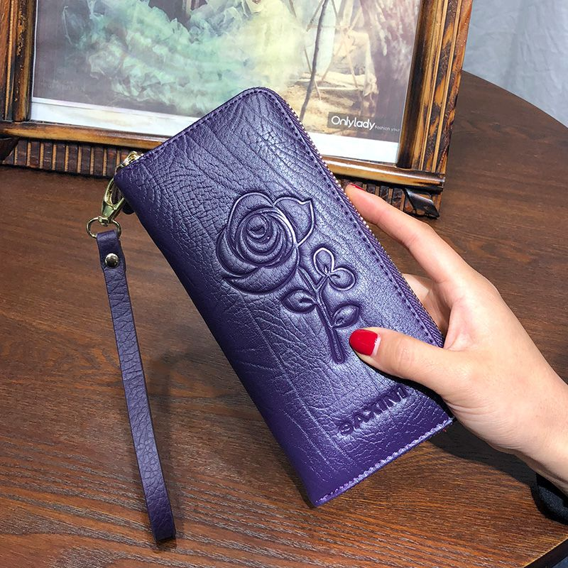 ROMA (Flower Embossed) - Genuine Leather Ladies Purse