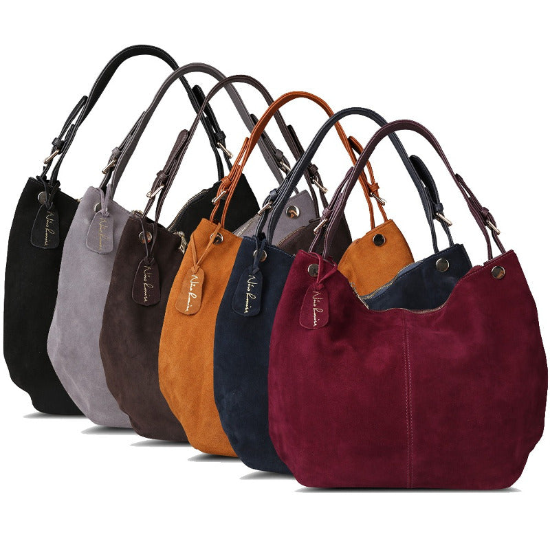 CLEMENTINE - Real Split Suede Leather Hobo Bag for Women