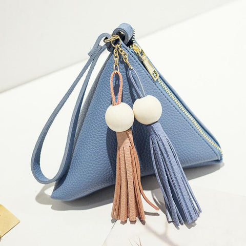 LEISHA - Triangular Pyramid-Shaped Wristlet with Tassels