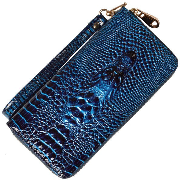 ILLANA - Faux Leather Crocodile Women's Wristlet