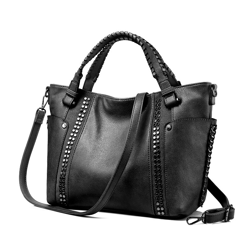 HAYDEN - Vegan Leather Women's Large Messenger Bag with Rivets