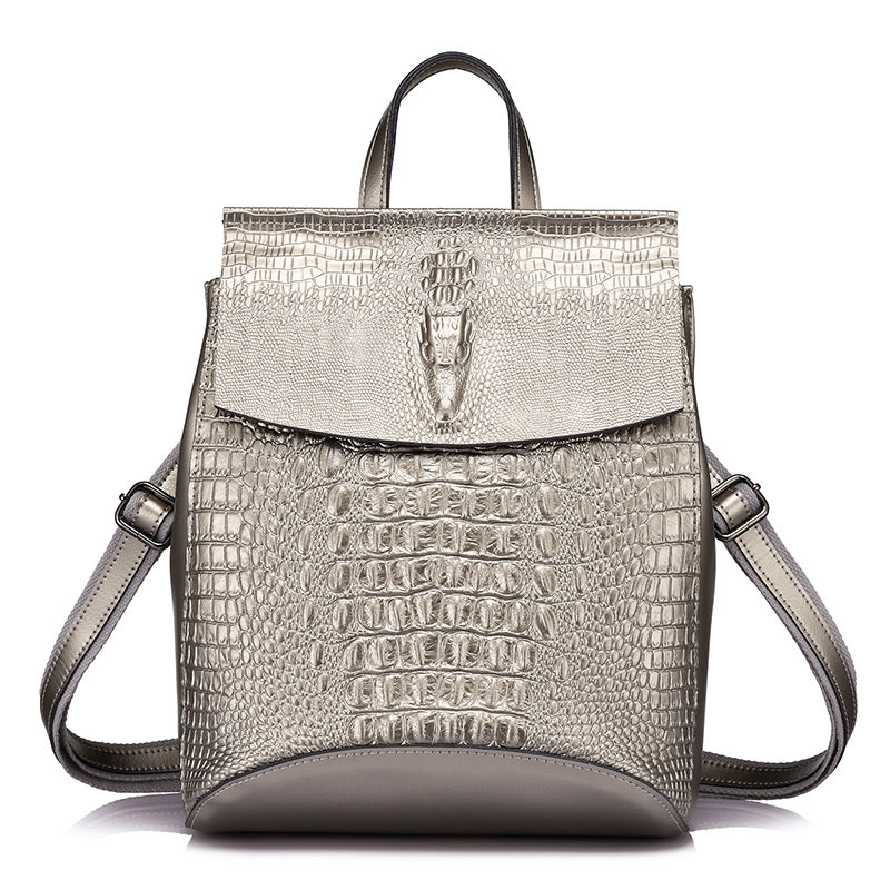 JADE - Women's Stylish Faux Leather Alligator Pattern Backpack