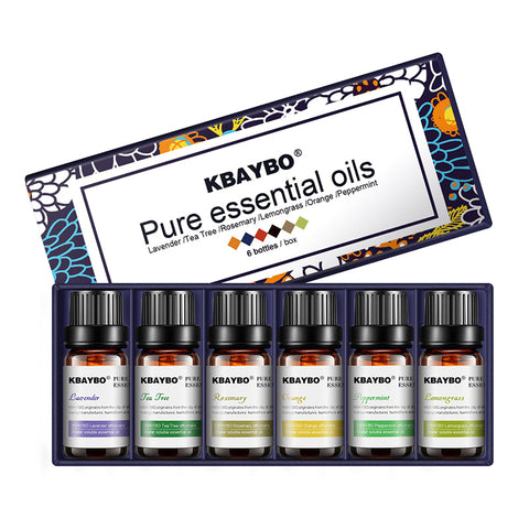 Aromatherapy 100% Pure Essential Oils Kit – 6 Fragrances: Lavender, Tea Tree, Rosemary, Lemongrass, Orange and Peppermint