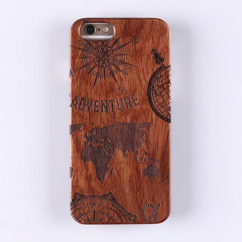 WORLD ADVENTURE (Dark) - Laser Engraved Real Wood iPhone and Samsung Cases