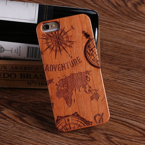 WORLD ADVENTURE (Pale) - Laser Engraved Real Wood iPhone and Samsung Cases