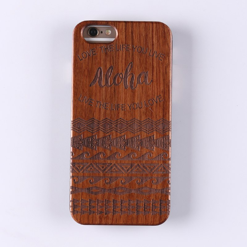 ALOHA (Dark) - Laser Engraved Real Wood iPhone and Samsung Cases