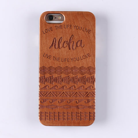 ALOHA (Pale) - Laser Engraved Real Wood iPhone and Samsung Cases