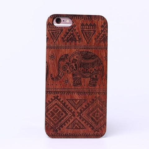 ELEPHANT (Dark) - Laser Engraved Real Wood iPhone and Samsung Cases
