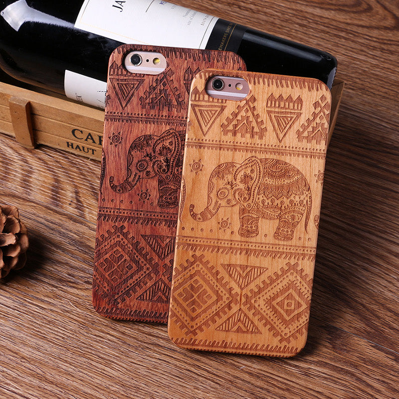 ELEPHANT (Pale) - Laser Engraved Real Wood iPhone and Samsung Cases