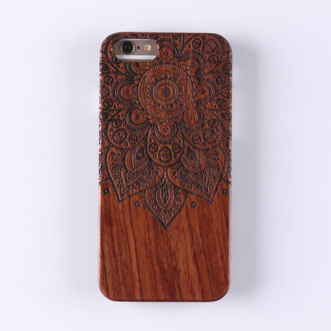MANDALA (Dark) - Laser Engraved Real Wood iPhone and Samsung Cases