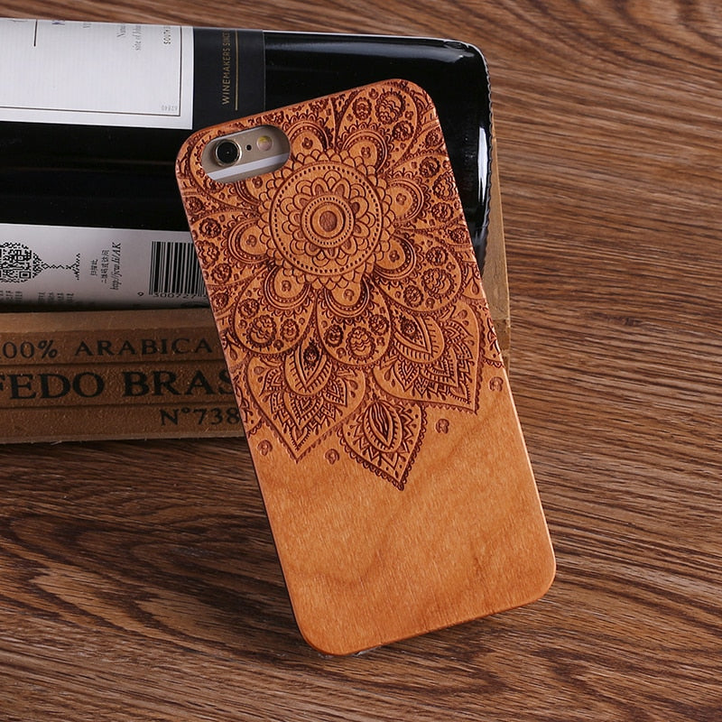 MANDALA (Pale) - Laser Engraved Real Wood iPhone and Samsung Cases