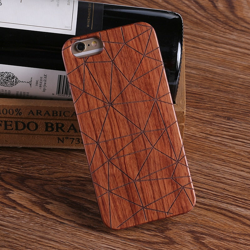 GEOMETRIC (Dark) - Laser Engraved Real Wood iPhone and Samsung Cases