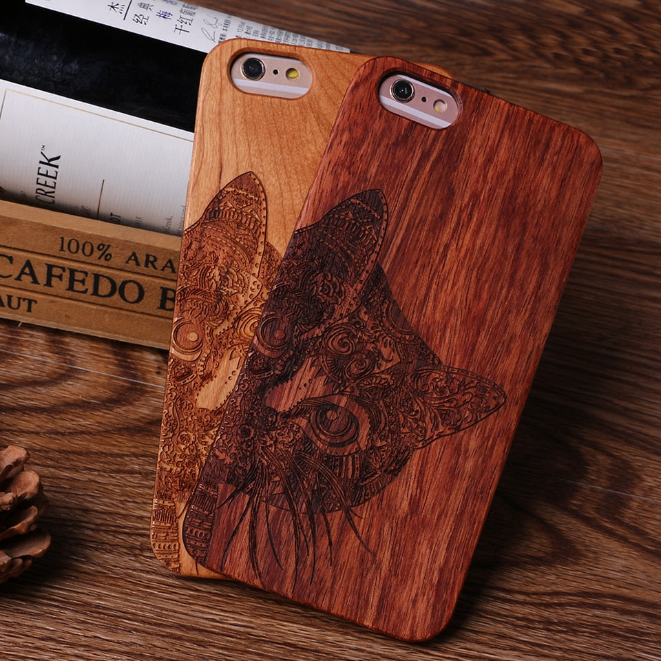 COOLCAT (Dark) - Laser Engraved Real Wood iPhone and Samsung Cases