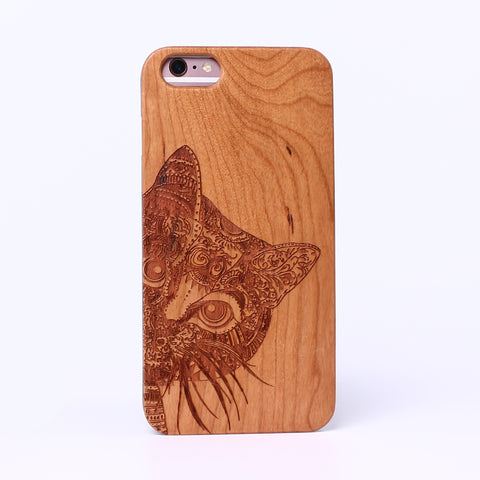 COOLCAT (Pale) - Laser Engraved Real Wood iPhone and Samsung Cases