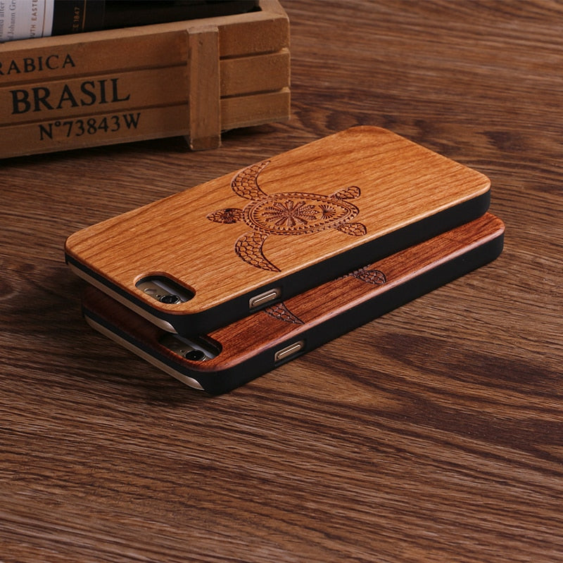 SEA TURTLE (Dark) - Laser Engraved Real Wood iPhone and Samsung Cases