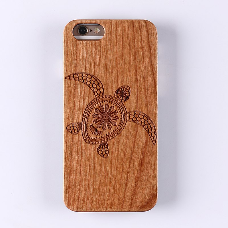 SEA TURTLE (Pale) - Laser Engraved Real Wood iPhone and Samsung Cases