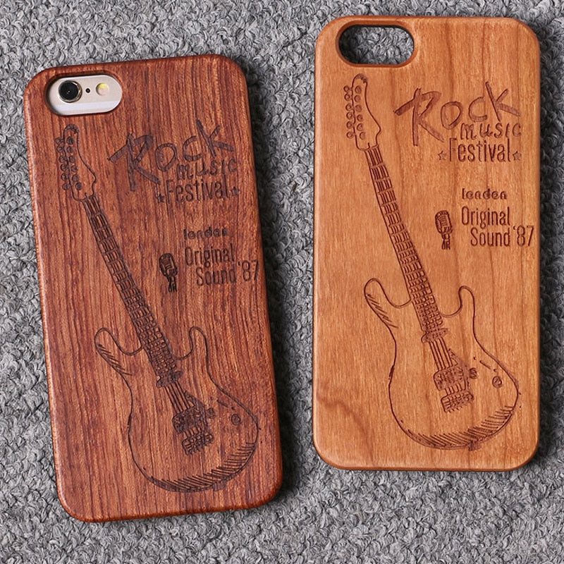 ROCK MUSIC (Dark) - Laser Engraved Real Wood iPhone and Samsung Cases