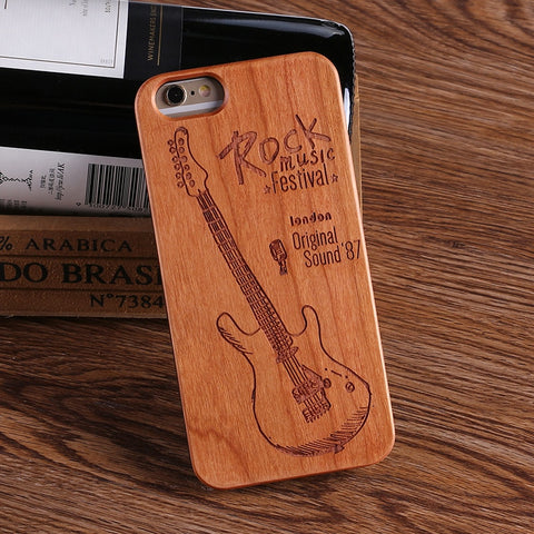 ROCK MUSIC (Pale) - Laser Engraved Real Wood iPhone and Samsung Cases