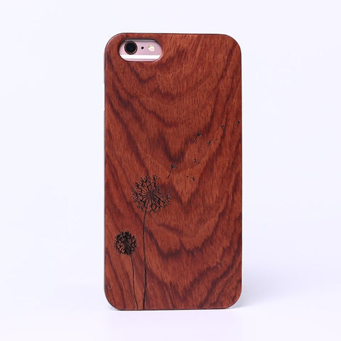 DANDELION (Dark) - Laser Engraved Real Wood iPhone and Samsung Cases