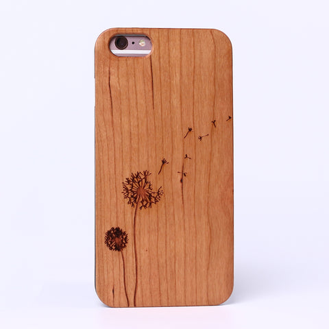 DANDELION (Pale) - Laser Engraved Real Wood iPhone and Samsung Cases