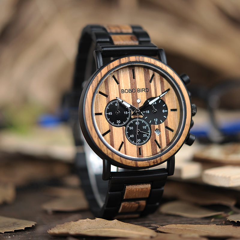MARLBORO - Zebra Wood and Alloy Men's Watch by BOBO BIRD