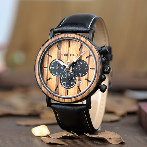 WILMOT - Zebra Wood Men's Watch with Genuine Leather Strap by BOBO BIRD