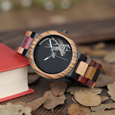 ASCOT - Deer Dial Men's Watch  with Multicolor Wooden Band by BOBO BIRD