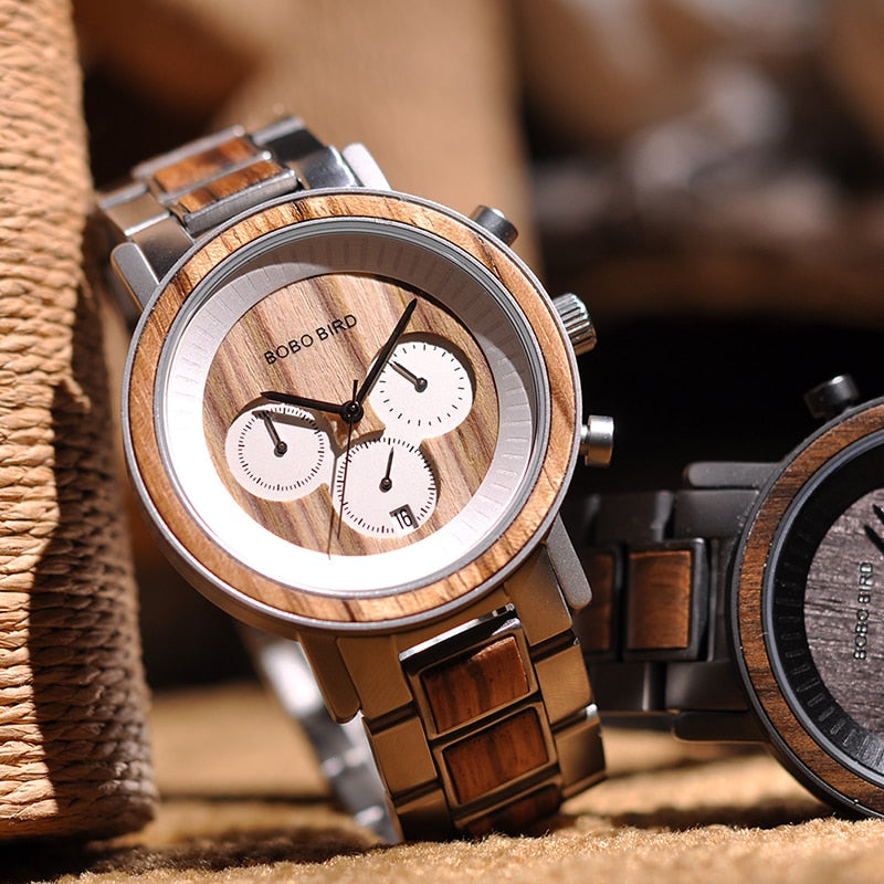 TENNYSON - Luxury Zebra Wood & Stainless Steel Men's Chronograph Watch by BOBO BIRD