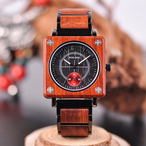 GENESIS (Red) - Luxury Unisex Square Watch by BOBO BIRD