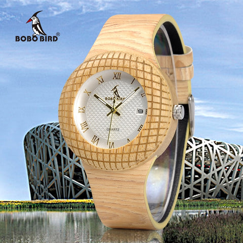 BIRDNEST - Stylish Bamboo Women's Watch with Leather Strap by BOBO BIRD