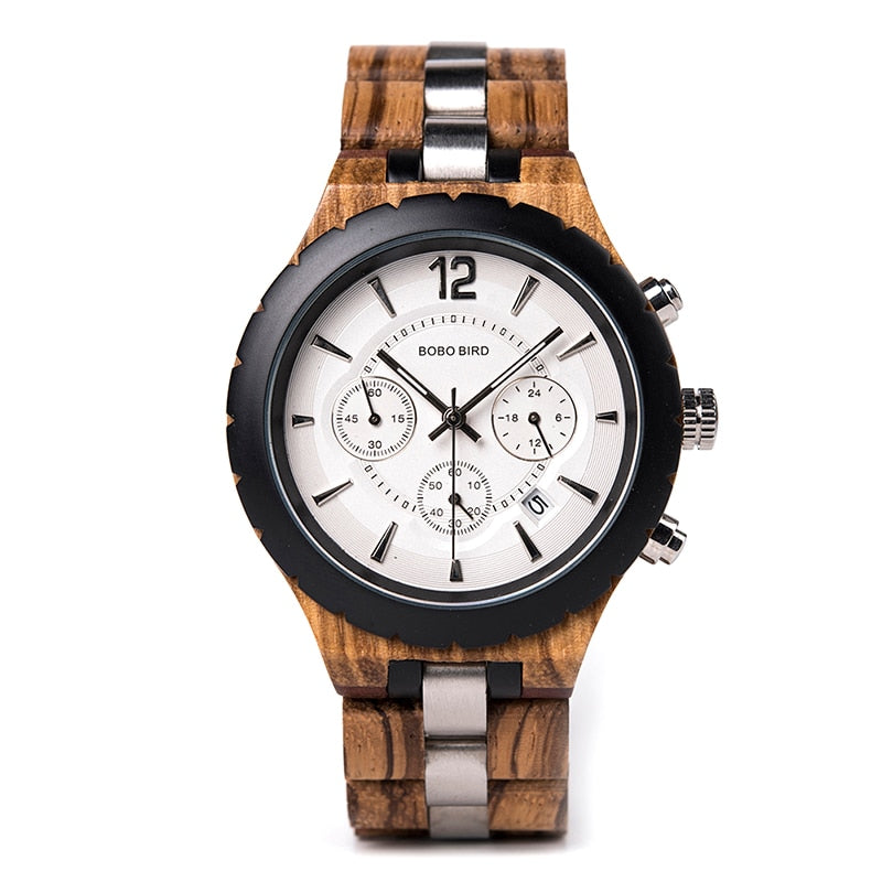ADONIS - Luxury Zebra Wood & Stainless Steel Men's Watch by BOBO BIRD