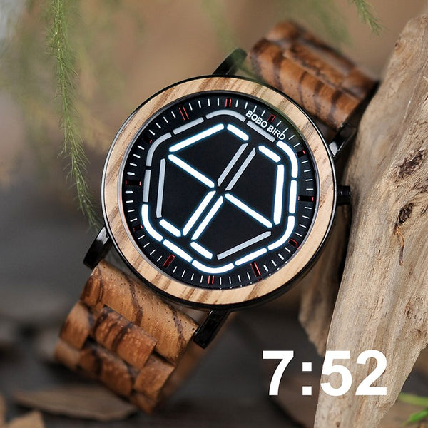 LUMINA (White) - Digital Led Display Night Vision Unisex Bamboo Watch by BOBO BIRD