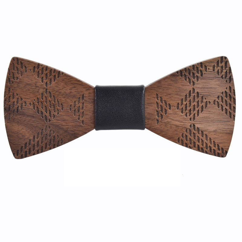 GAUTENG - Classic Handmade Wood Bow Tie with Cufflinks