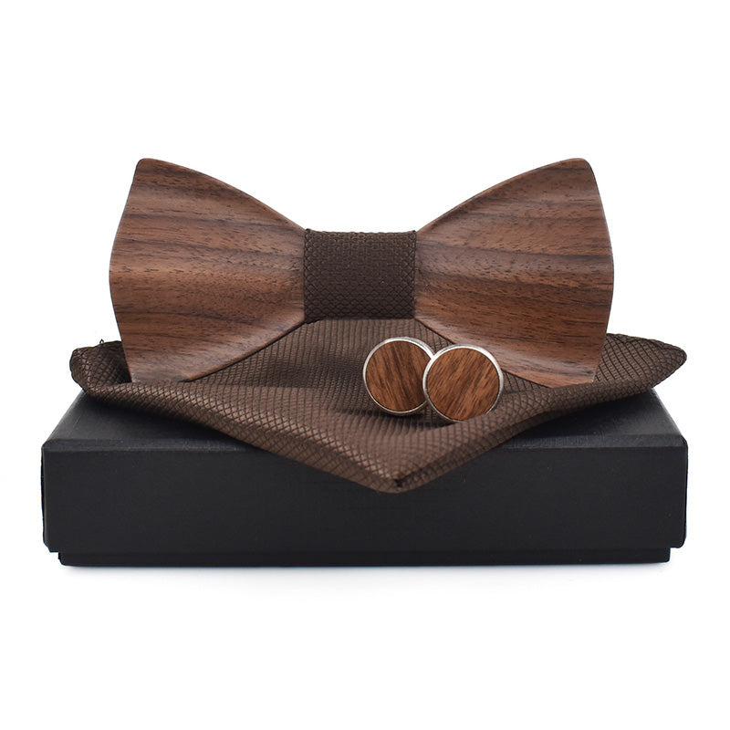 CLARINGTON Rounded Corners - Wooden Bow Tie with Cufflinks & Pocket Square