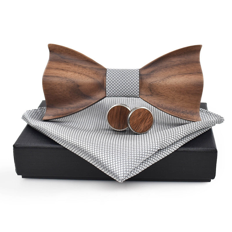CLARINGTON Sharp Corners - Wooden Bow Tie with Cufflinks & Pocket Square