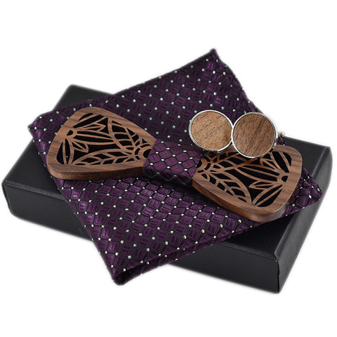 ELMHURST - Handcrafted Hollow Carved Wooden Bow Tie with Cufflinks & Pocket Square