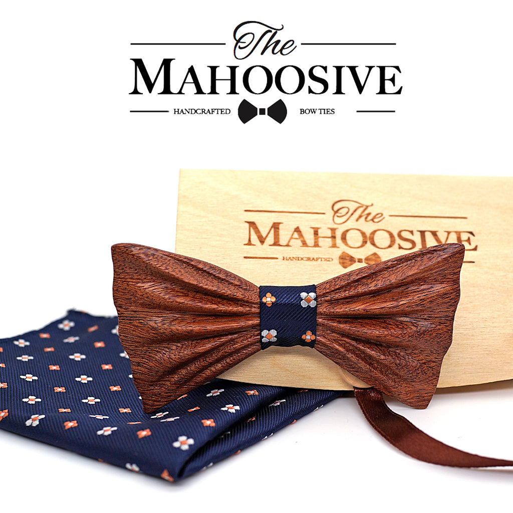 FLEMINGTON - Fashion Wooden Bow Tie with Pocket Square