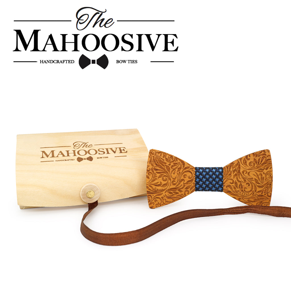 CHATEAUGAY - Classic Handcrafted Carved Wooden Bow Tie