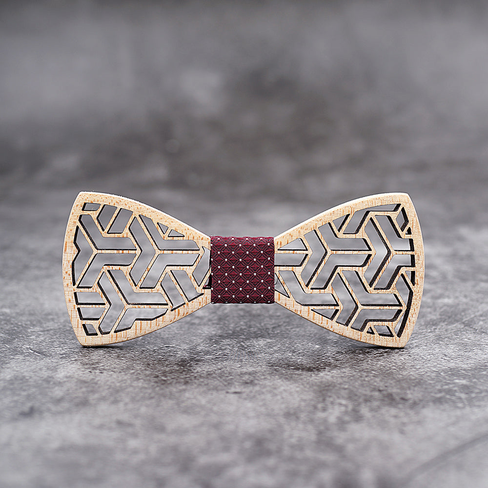 CHARLEMAGNE - Handcrafted Carved Wooden Bow Tie with Cufflinks and Pocket Square