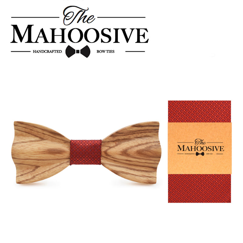 CASTLETOWN - Novelty Handmade Zebra Wood Bow Tie with Pocket Square
