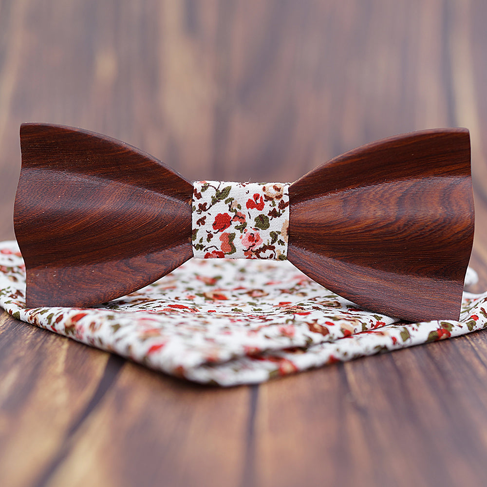 BELLINGHAM - Novelty Handmade Ebony Wood Bow Tie with Pocket Square