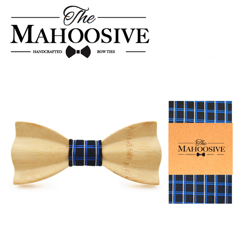 MANSFIELD - Novelty Handmade Pine Wooden Bow Tie with Pocket Square