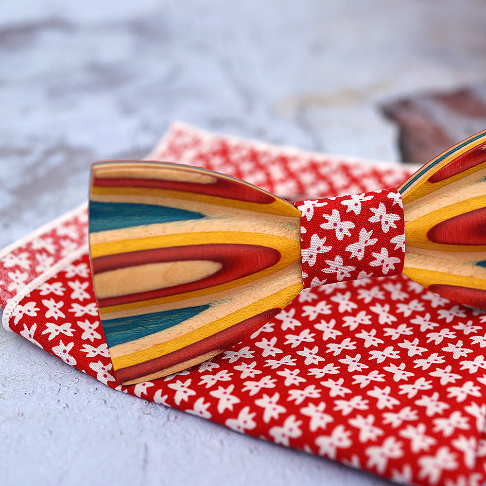 REDWOOD - Fashion Handcrafted Zebra Wood Bow Tie with Pocket Square