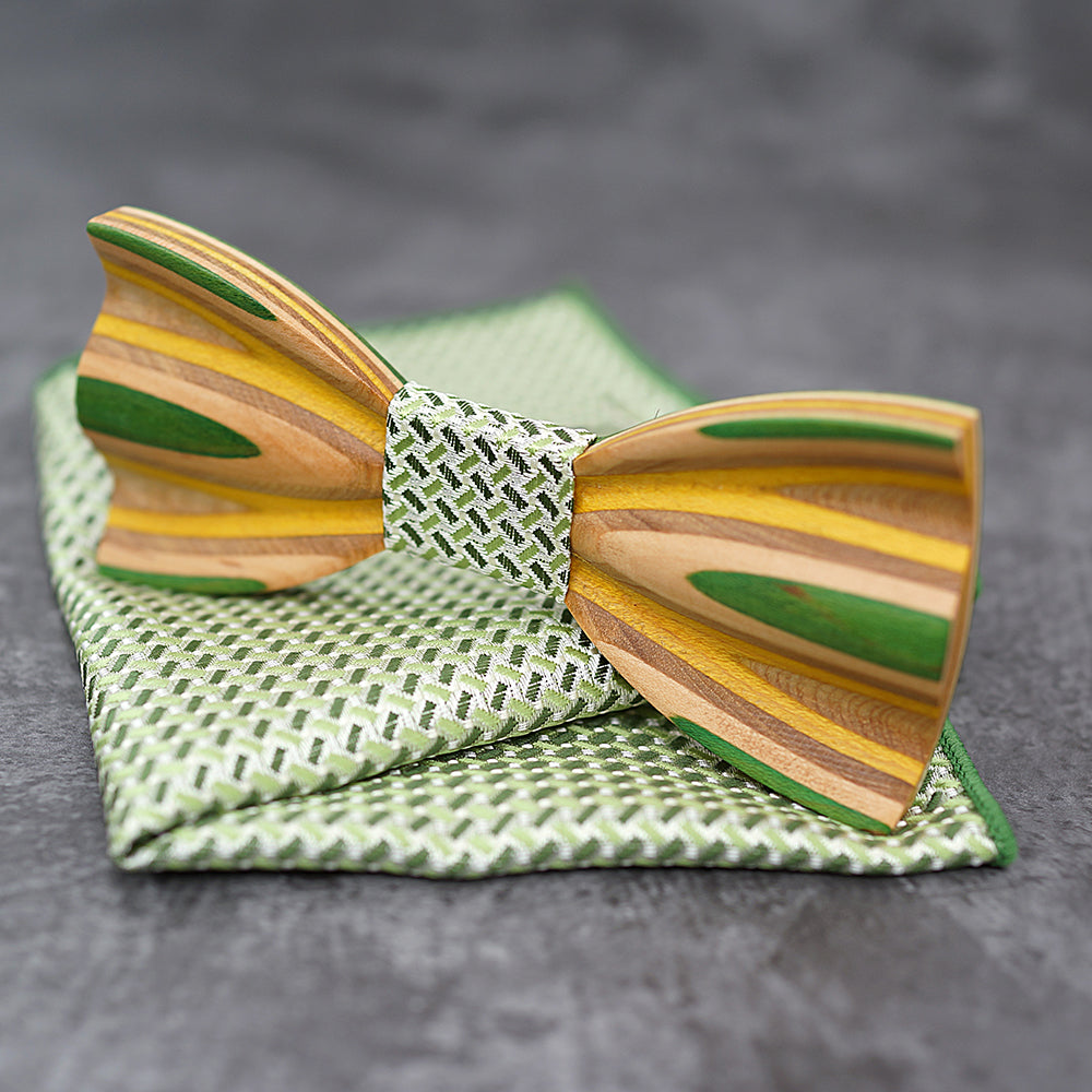 GREENWOOD - Fashion Handcrafted Zebra Wood Bow Tie with Pocket Square