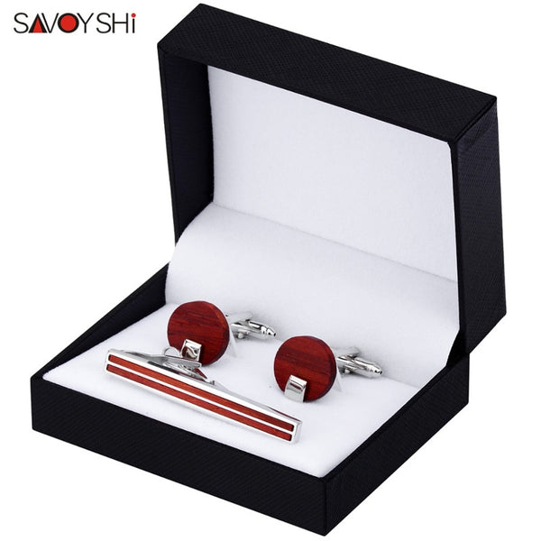 SOMARA - Luxury Red Wood Cufflinks & Tie Bar Set for Men by SAVOYSHI