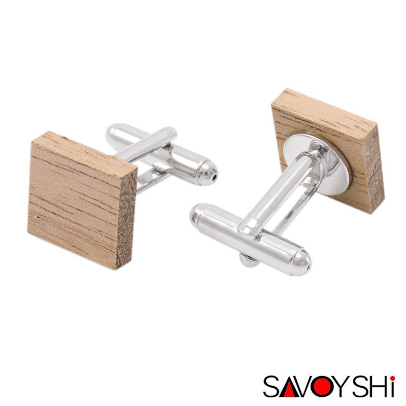 Square Wooden Cufflinks & Tie Bar Set for Men by SAVOYSHI