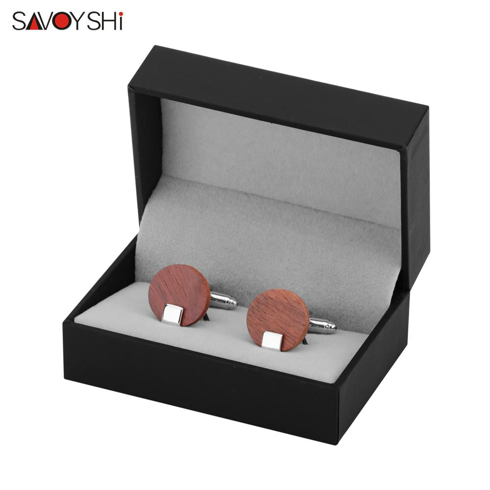 Luxury Round Red Wood Cufflinks for Men by SAVOYSHI