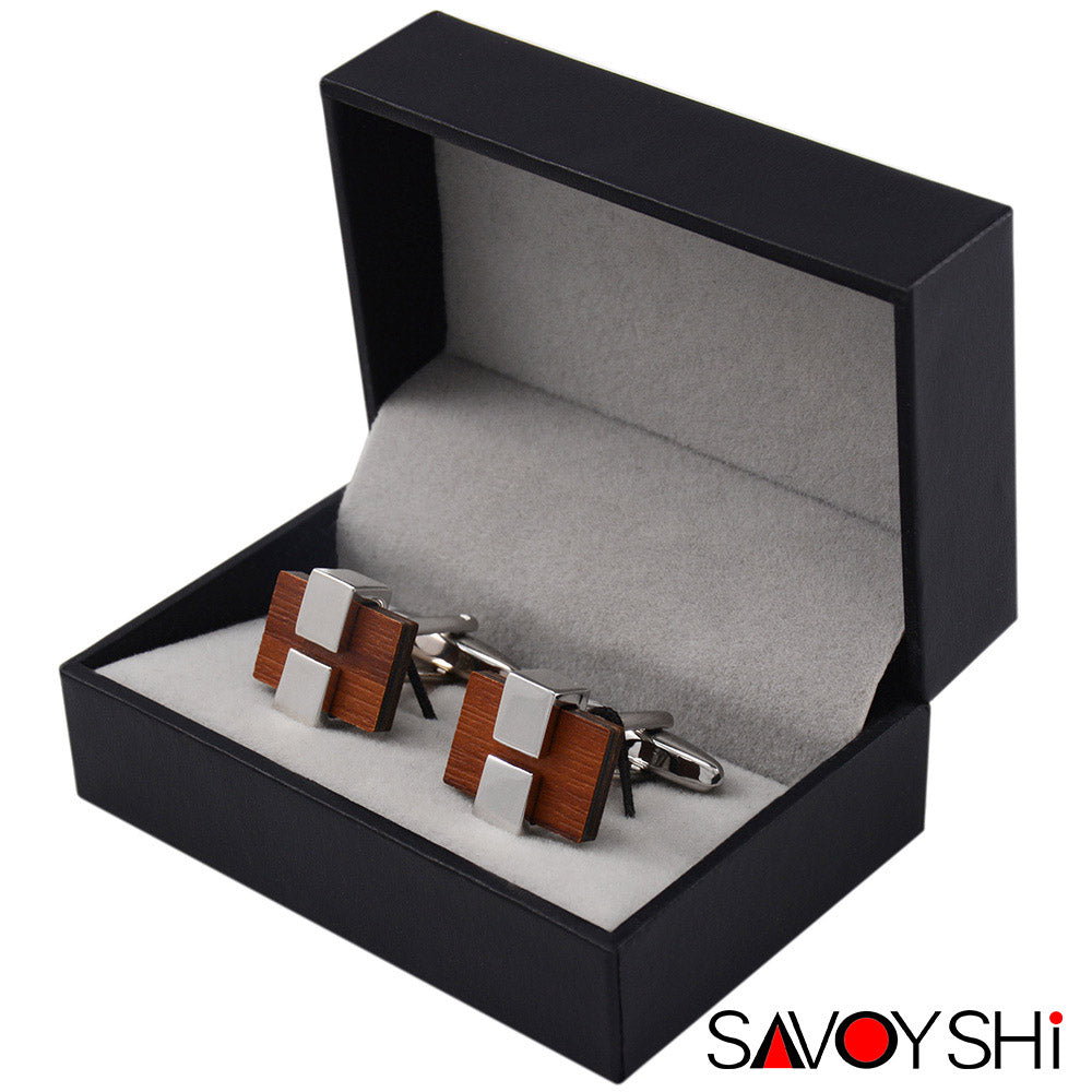 Luxury Square Wooden Cufflinks for Men by SAVOYSHI